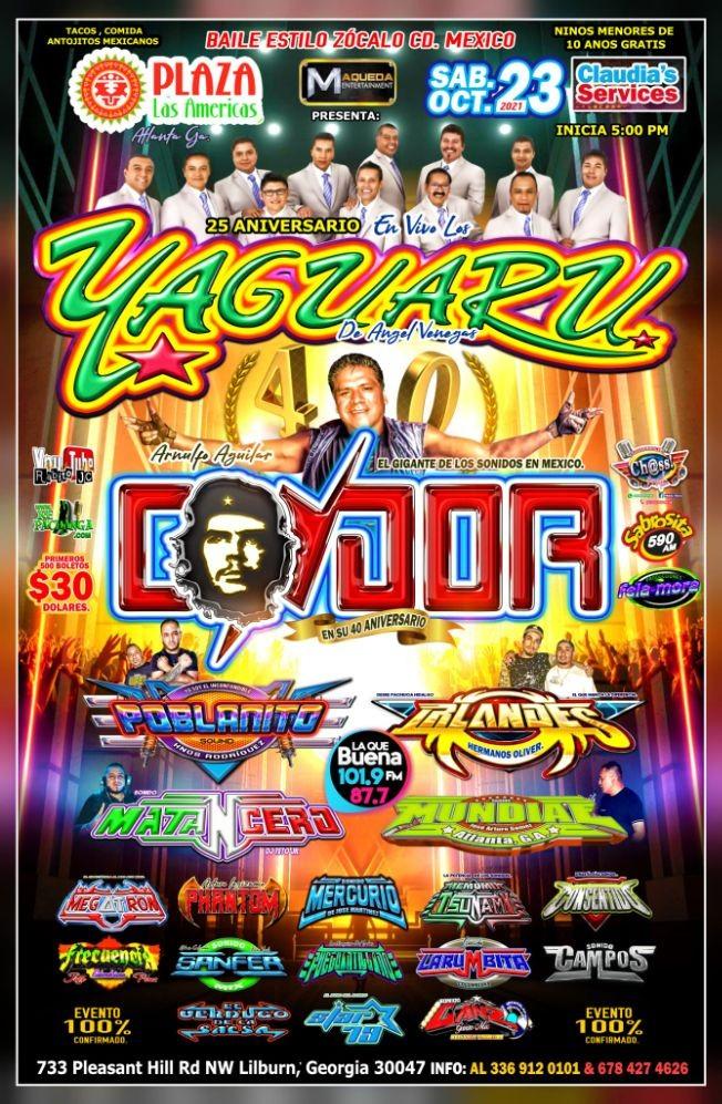 Flyer for LOS YAGUARÚ Y SONIDO CONDOR EN VIVO ! LILBURN GEORGIA