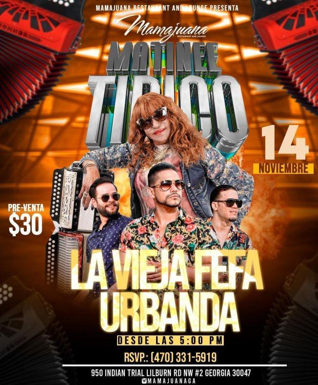 Flyer for LA VIEJA FEFA, URBANDA EN VIVO ! LILBURN GEORGIA