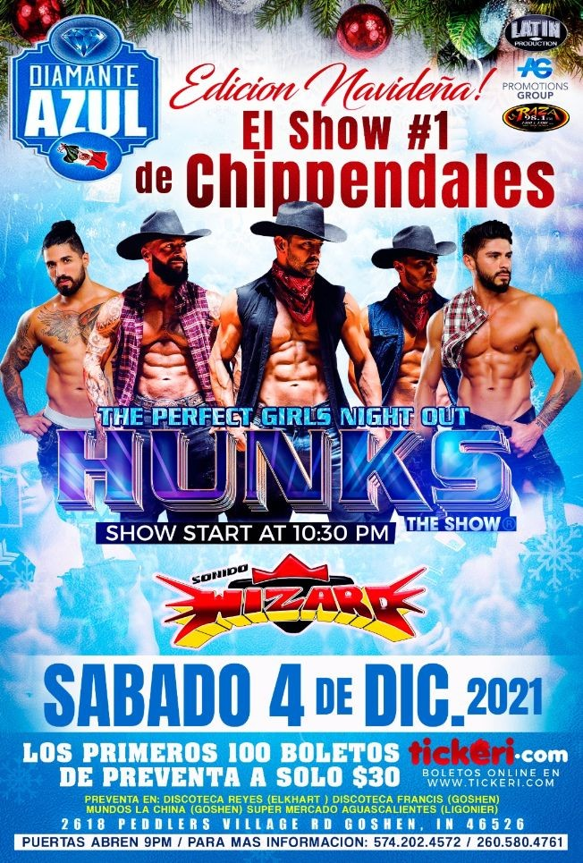 Flyer for ESPECIAL CHRISTMAS  WITH HUNKS THE SHOW