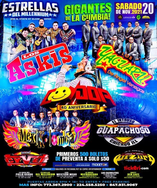 Flyer for LOS ASKIS - LOS YAGUARU - SONIDO CONDOR 40TH ANIVERSARIO - MEXIKOLOMBIA -GIGANTES DE LA CUMBIA -  ELGIN CHICAGO