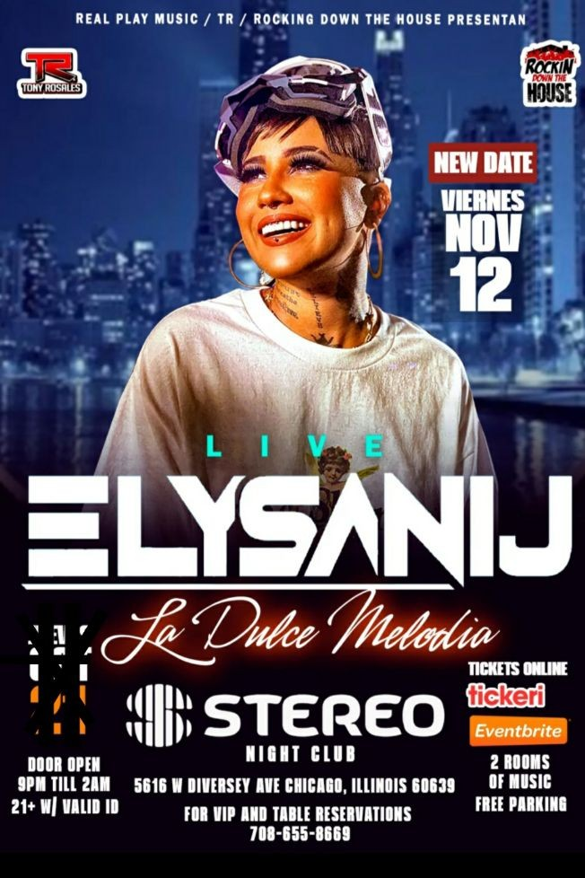 Flyer for ELYSANIJ LIVE @ STEREO NIGHT CLUB CHICAGO IL